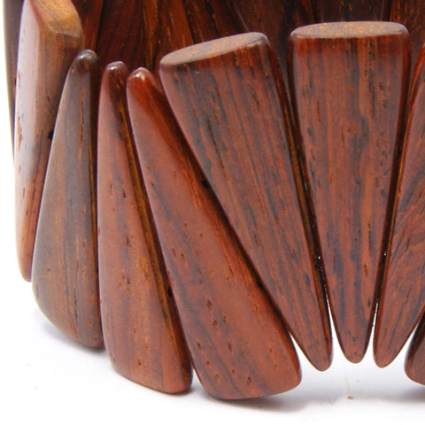 TICA SURF Unique exotic wood cuff bracelet - Wide spikes L
