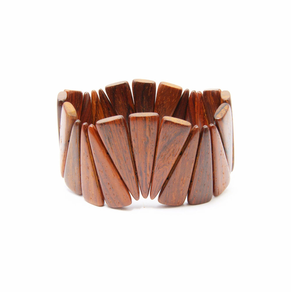 TICA SURF Unique exotic wood cuff bracelet - Wide spikes L - EE1837