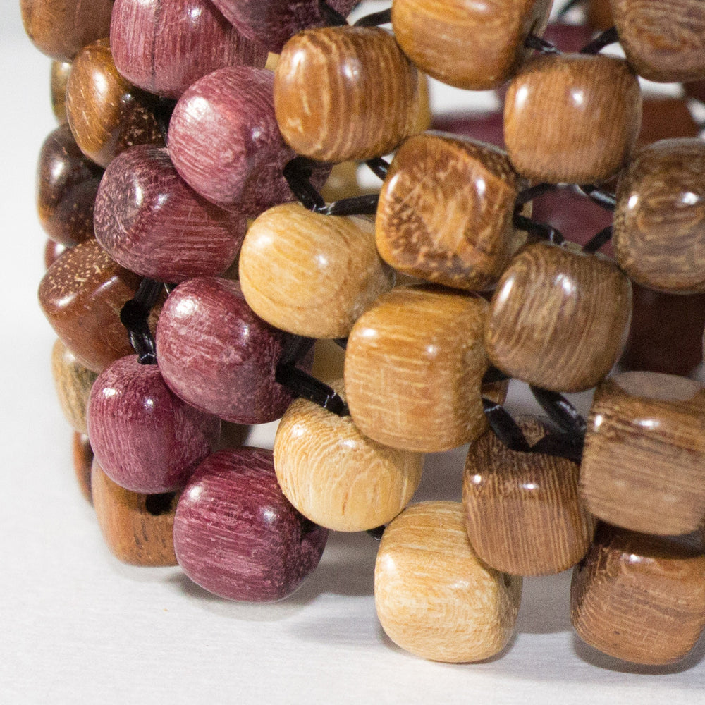 TICA SURF Unique exotic wood cuff bracelet - Multicolor microbeads - EE1901 - TicaSurf USA