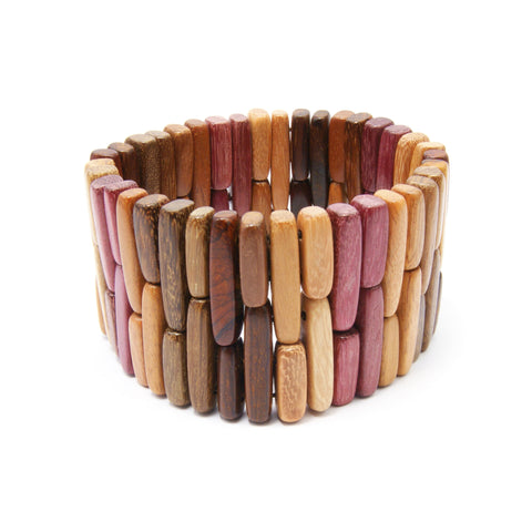 TICA SURF Unique exotic wood cuff bracelet - Multicolor bars