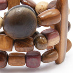 TICA SURF Unique exotic wood cuff bracelet - Multicolor Geo Shapes - EE1907