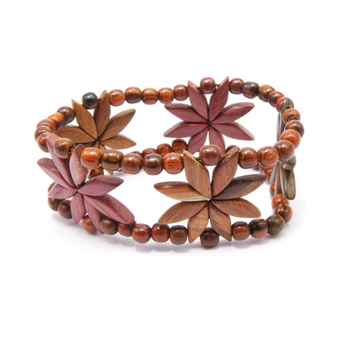 TICA SURF Unique exotic wood cuff bracelet - Flowers