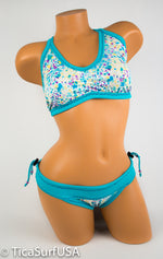 Tica Surf Single Cross Back Rouched Top / Cheeky Rouched Bottom L - TS56