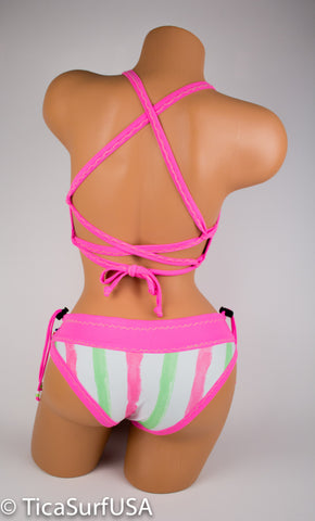 Tica Surf Double Cross Back Top / Cheeky  Bottom M - TS57