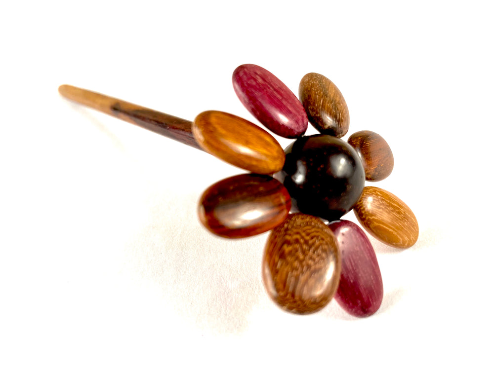 TICA SURF Unique exotic wood hair stick - Flower - EE2413
