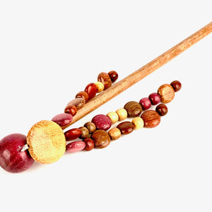 TICA SURF Unique exotic wood hair stick - Multi Beaded Strings - EE2414