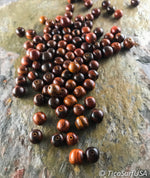 Round Wood Beads Unstained Polished Lacquered Handcrafted RB12A Rosewood - 10 Count - TicaSurf USA