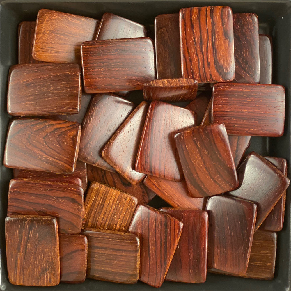 Flat Rectangular Wood Beads RF28 - 10 Pieces - See all colors