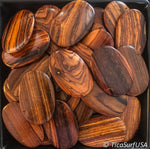 Flat Oval Wood Beads Unstained Polished Lacquered Handcrafted RO22A Rosewood - 10 Count - TicaSurf USA
