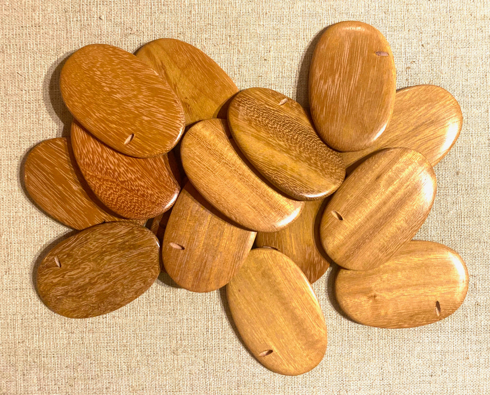 Flat Oval Wood Beads RO22 - 10 Pieces - See all colors