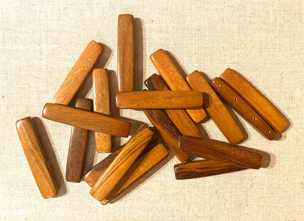 Rectangular Section Bar Wood Beads SB31 - 10 Pieces - See all colors