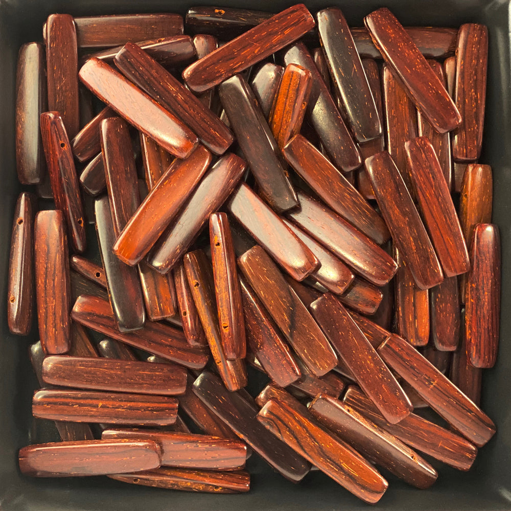 Rectangular Section Bar Wood Beads SB37 - 10 Pieces - See all colors