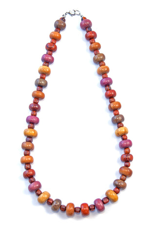 TICA SURF Unique string exotic wood necklace - Alternate Small Discs - EE2173