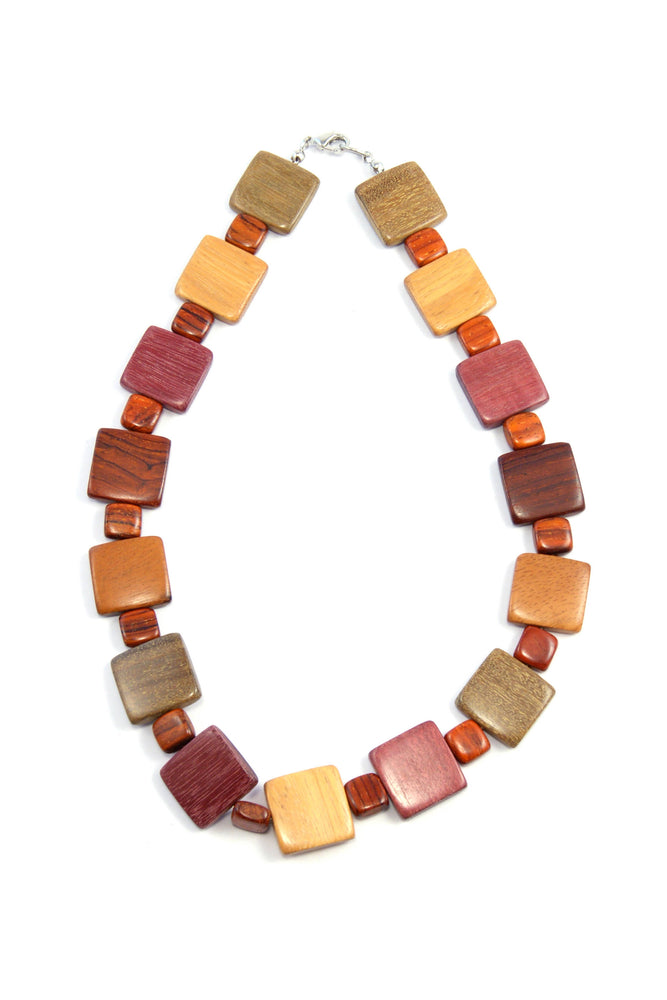 TICA SURF Unique exotic wood necklace - Multi Squares - EE366 - TicaSurf USA