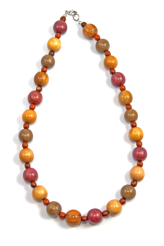 TICA SURF Unique string exotic wood necklace - Alternate small spheres - EE247