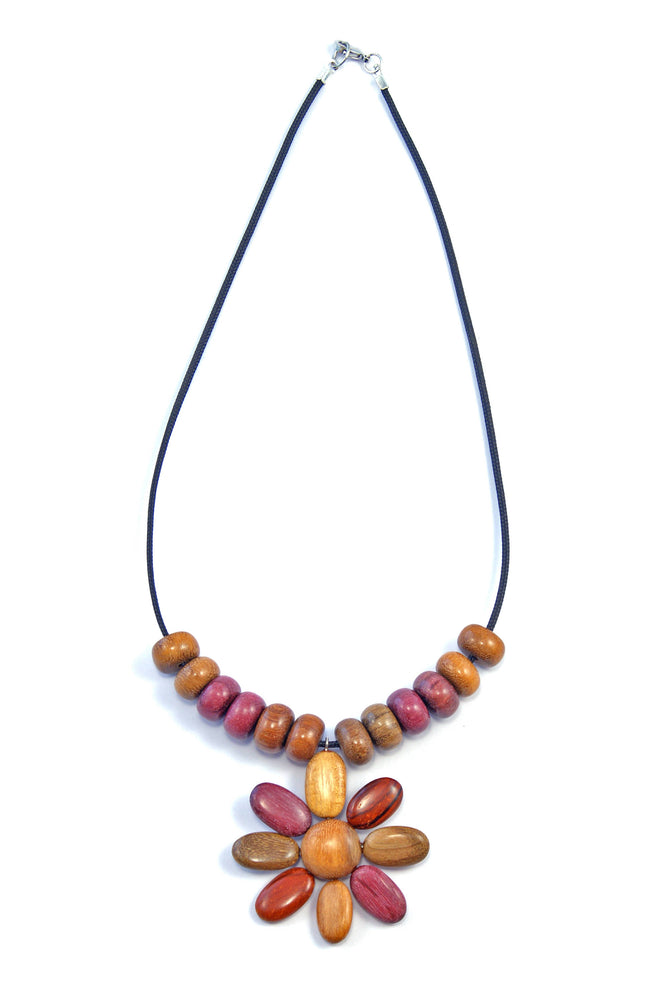TICA SURF Unique string exotic wood necklace - Flower Pendant - EE213
