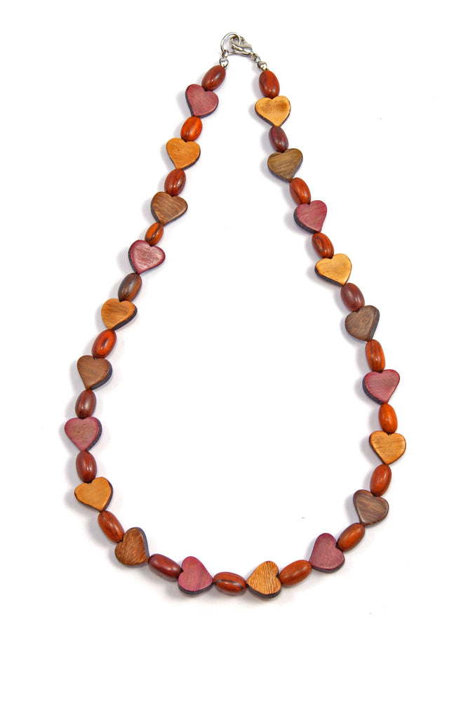 TICA SURF Unique string exotic wood necklace - Mini Hearts- EE2172