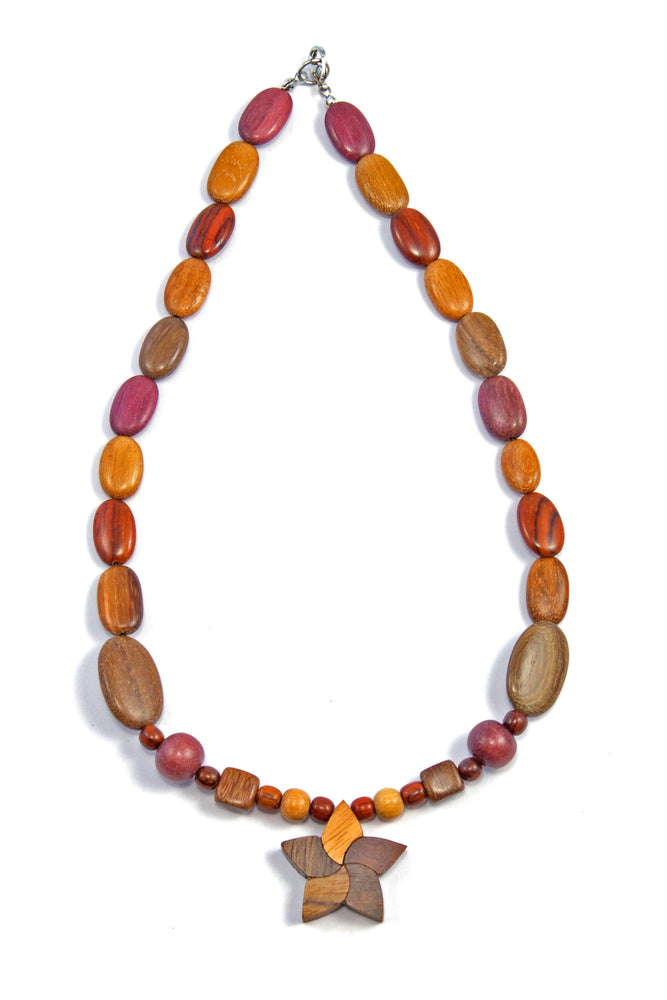 TICA SURF Unique string exotic wood necklace - Multicolor Star Small - EE2203