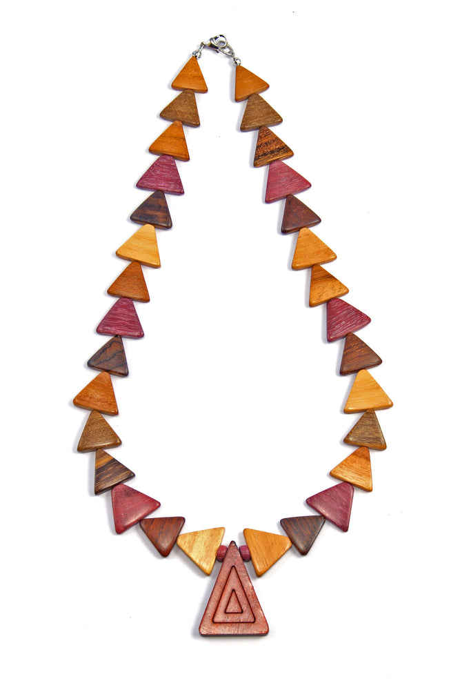 TICA SURF Unique string exotic wood necklace - Triangles Multi - EE2216 - TicaSurf USA