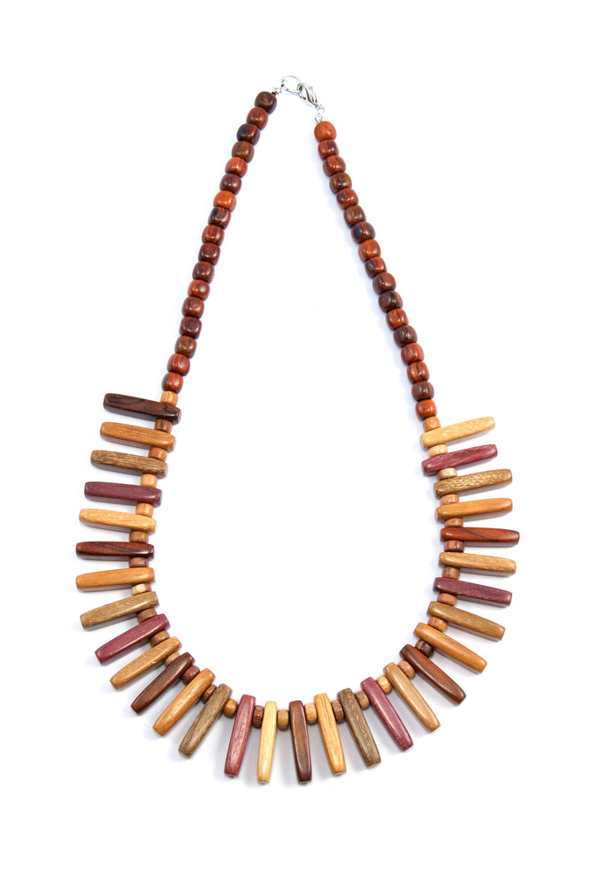 TICA SURF Unique exotic wood necklace - Tribal Mini Bars - EE364