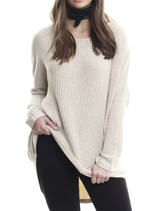 All About Eve Tee Feature Long Sleeve Knit Natural