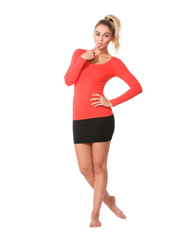 Betty Basics Madonna Long Sleeve Scoop Top Coral