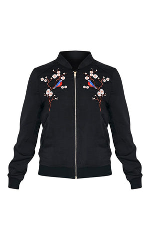 Birdie Floral Embroidered Black Satin Bomber Jacket