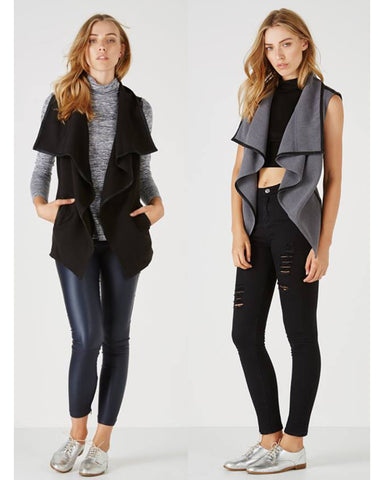 Waterfall Vest - Black Or Grey