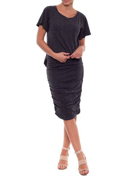Metalicus Birch Spotty Ruched Skirt in Black Marle