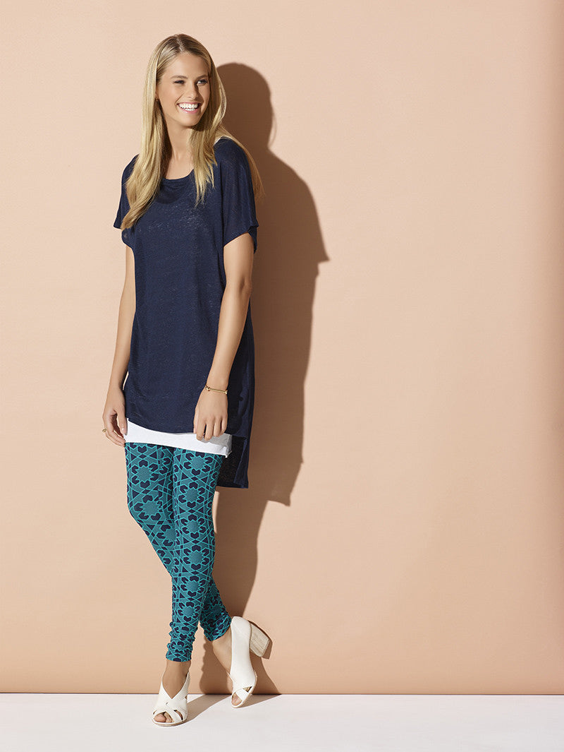 Metalicus Gloria Legging in Navy & Mint Leaf
