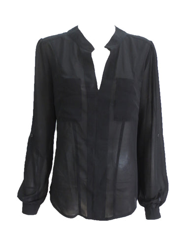 Black Sheer Blouse - long sleeve