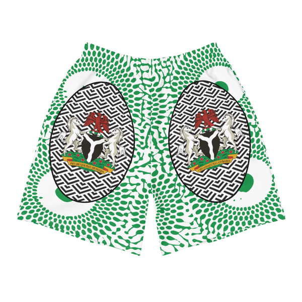 Nigeria Coat of Arms Ankara Men's Athletic Shorts