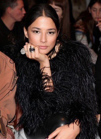 Jessica Gomes wears the Crystal Skull Ring and Onyx Talon Ring at Mercedes-Benz Fashion Week Australia 2011