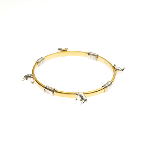 Bondage Rhino Bangle | Sterling Silver and Gold Plate