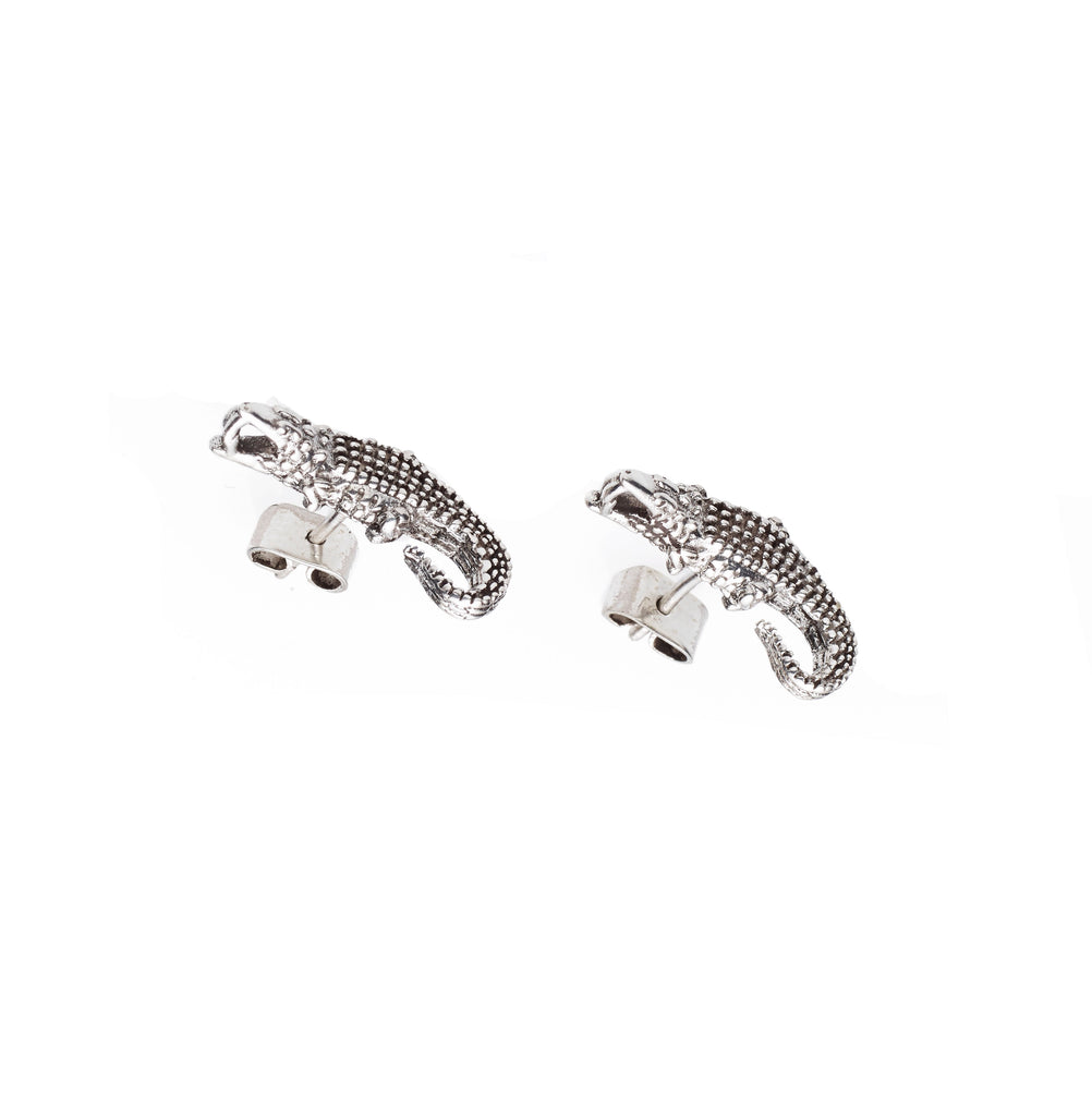 Crocodile Stud | Sterling Silver