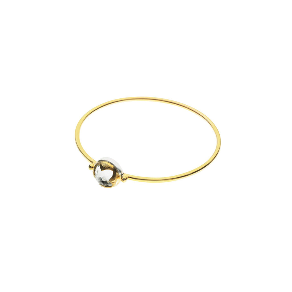Round Stack Bangle | Crystal with Sterling Silver and Gold Plate