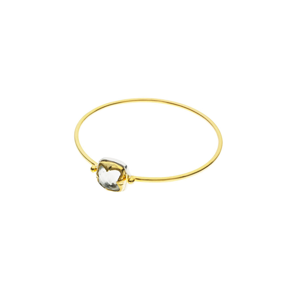 Square Stack Bangle | Crystal with Sterling Silver and Gold Plate