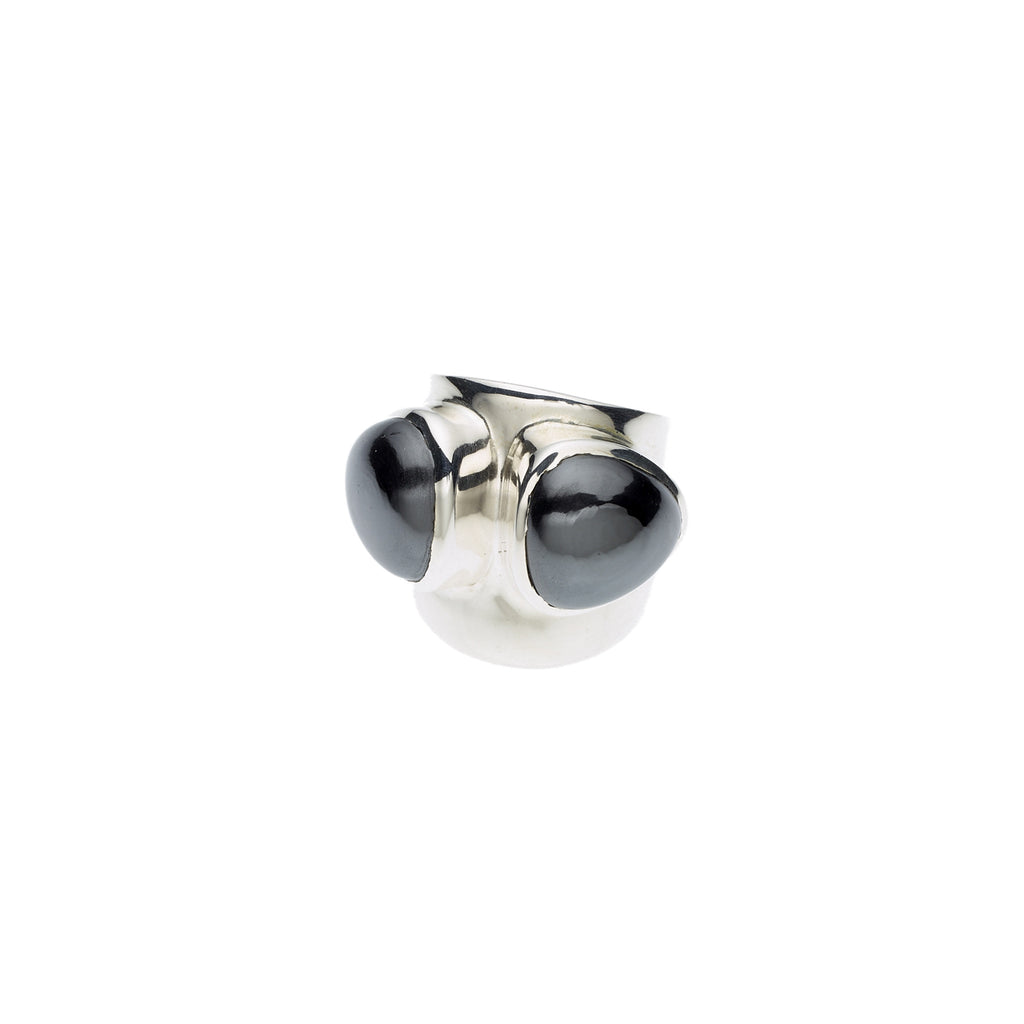 sterling silver ring with hematite stones, jewellery designer, womens rings