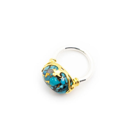 Duchess Ring | Blue Copper Turquoise, Sterling Silver with Gold Plate