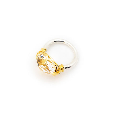 Duchess Ring | Faceted Crystal, Sterling Silver with Gold Plate