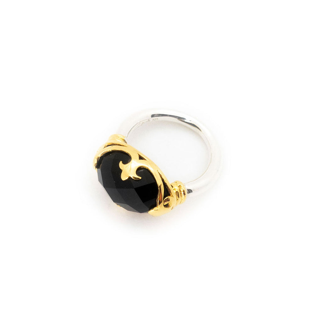 Duchess Ring | Faceted Black Onyx, Sterling Silver with Gold Plate