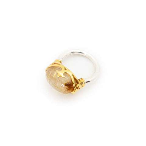 Duchess Ring | Golden Rutile, Sterling Silver with Gold Plate