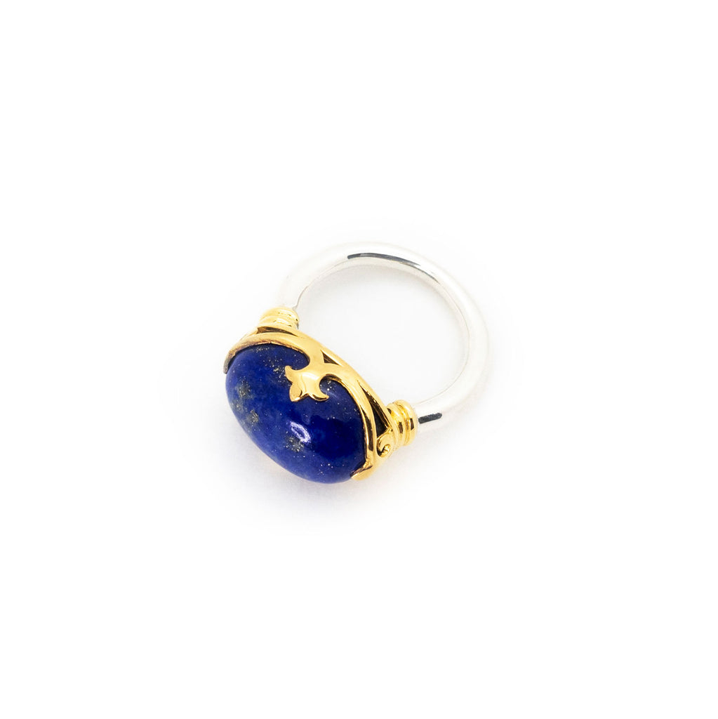 Duchess Ring | Lapis Lazuli, Sterling Silver with Gold Plate