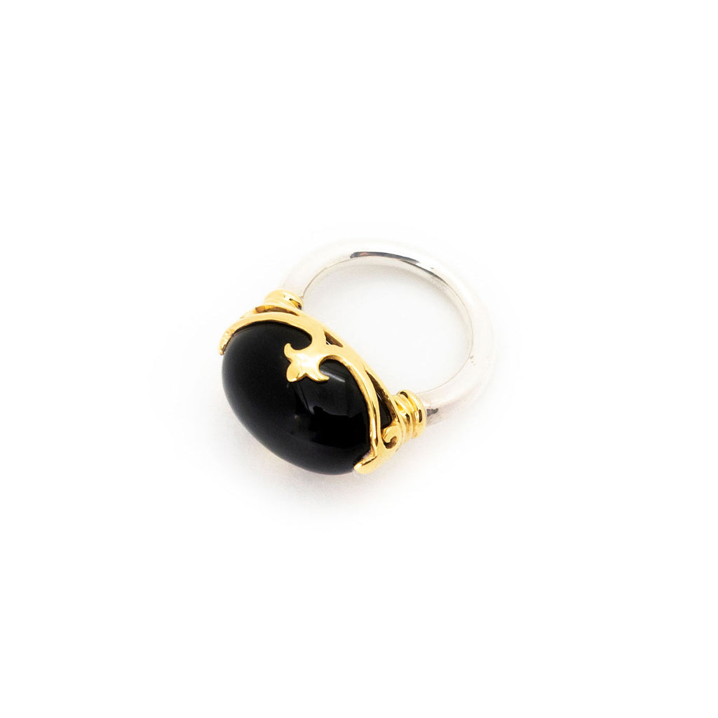 Duchess Ring | Black Onyx, Sterling Silver with Gold Plate