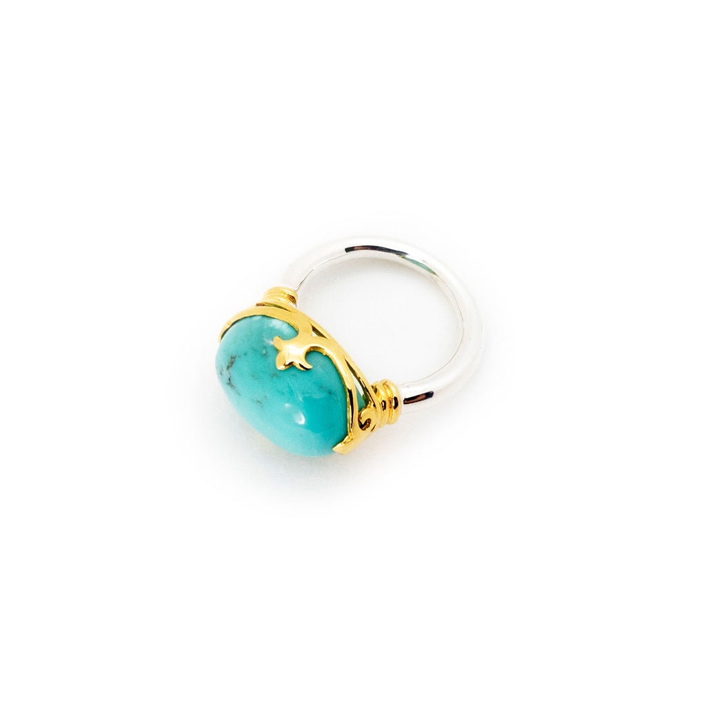 Duchess Ring | Turquoise, Sterling Silver with Gold Plate