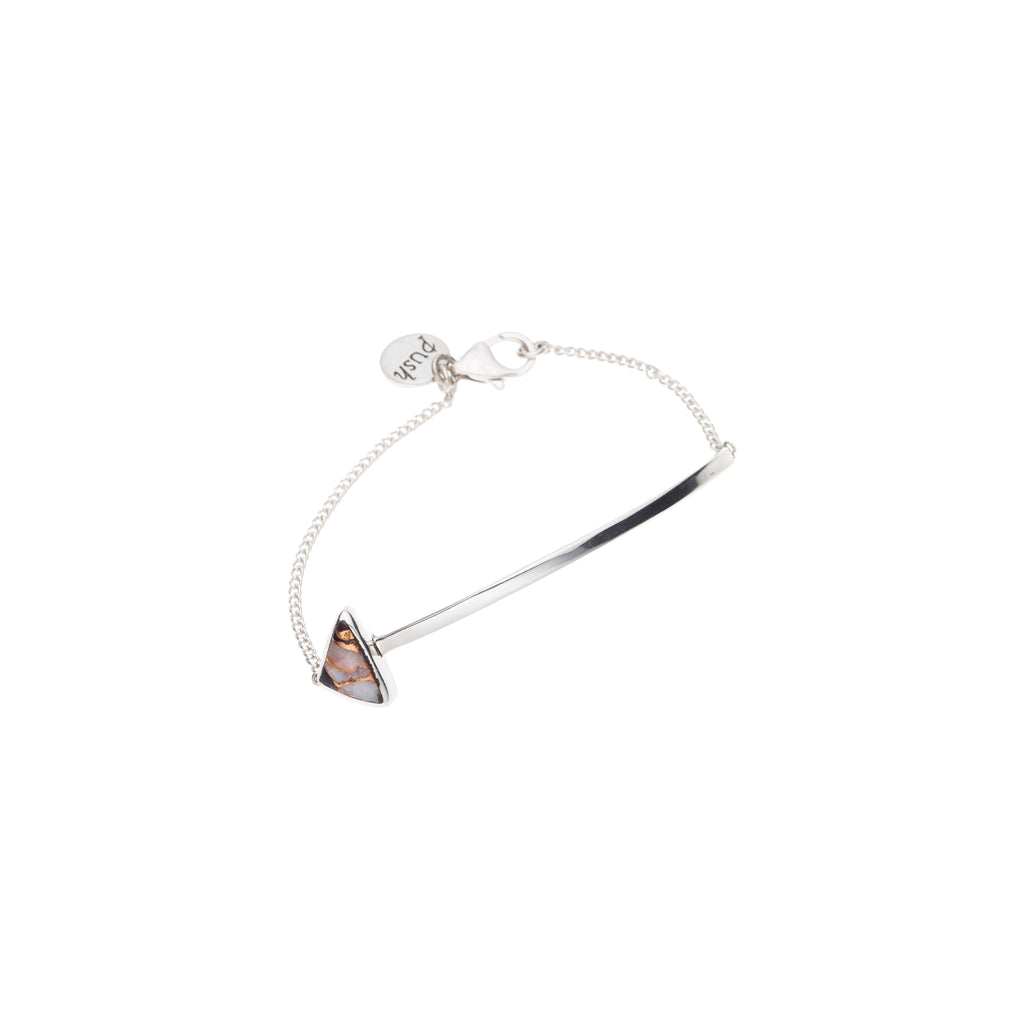 En Arrow Bracelet | Black and White Calcite with Sterling Silver