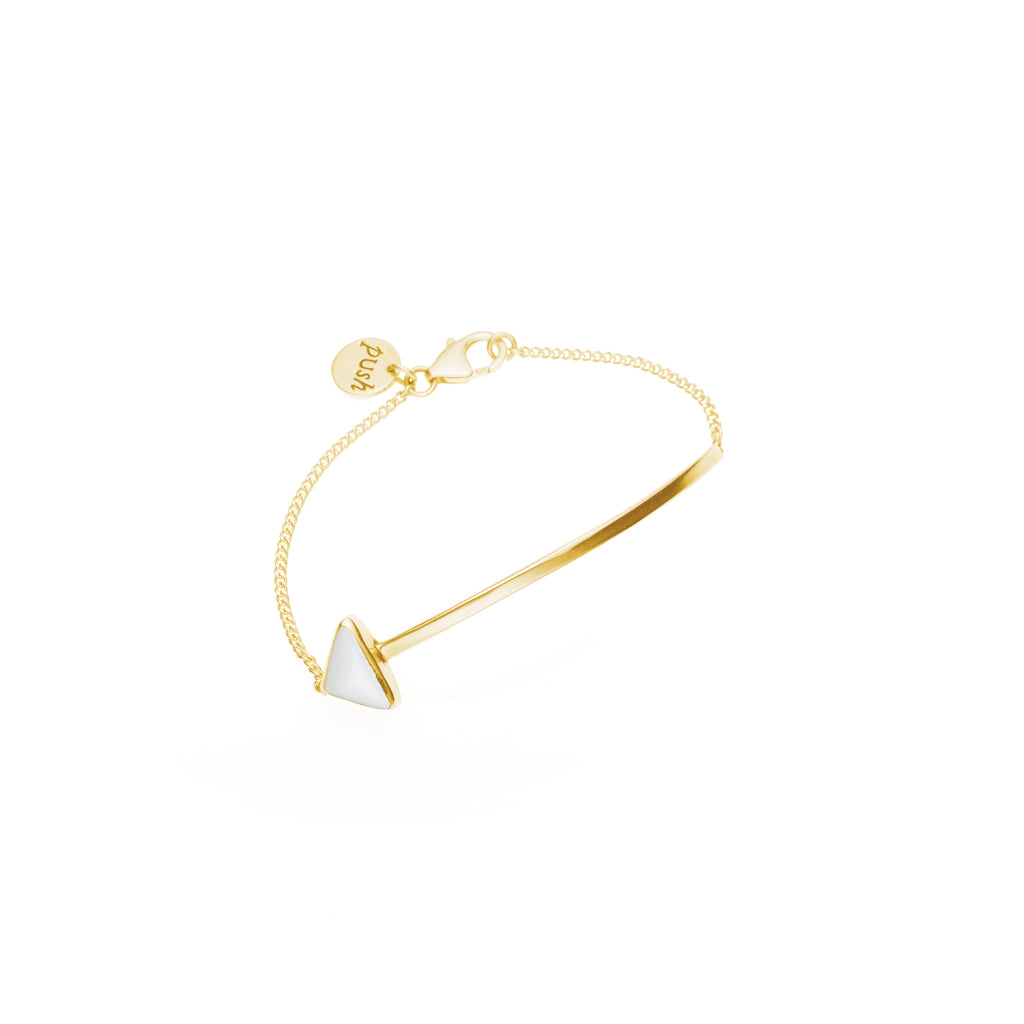 En Arrow Bracelet | White Calcite with Gold Plate