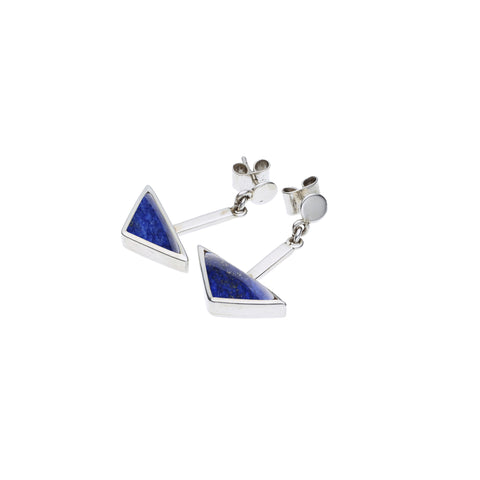 En Tribe Earrings in Sterling Silver & Lapis
