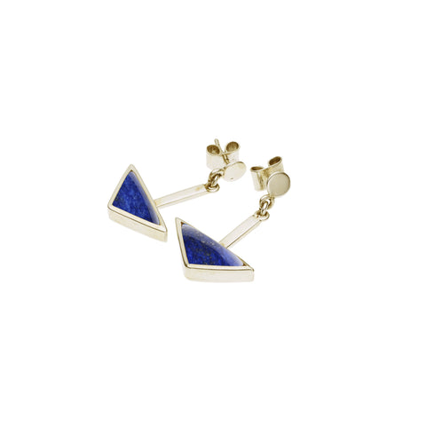 En Tribe Earrings in Gold Plated Brass & Lapis