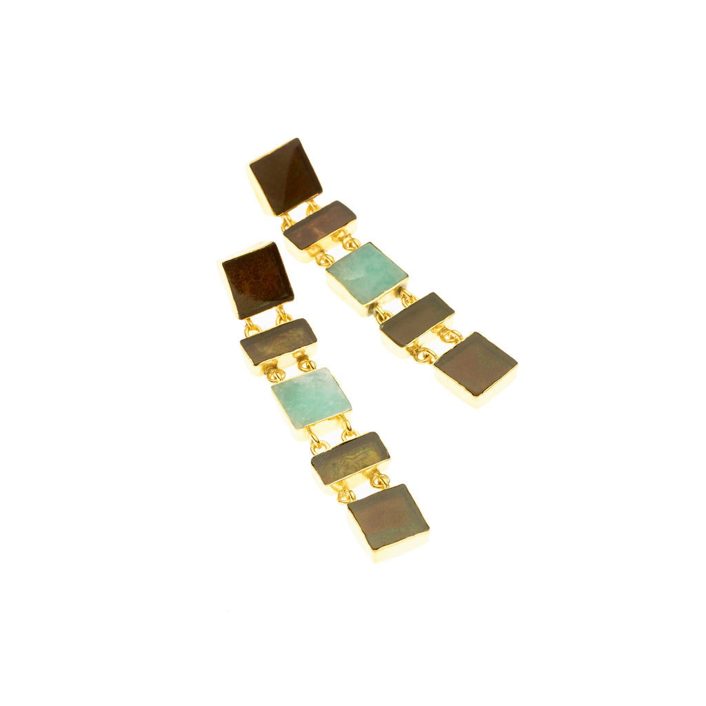Five Realm Earrings | Smoky Quartz and Amazonite, Gold Plate